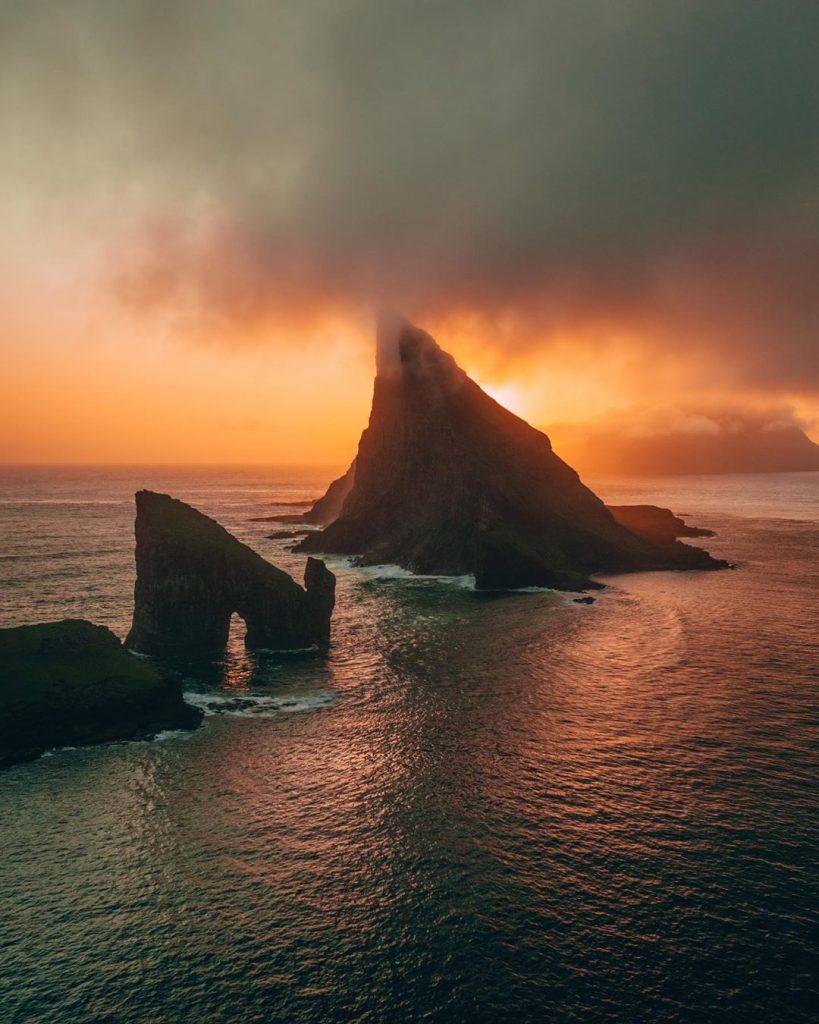 Faroe Islands Tindhólmur and Dranganir Vágar sunset - Faroe Islands' most instagrammable places