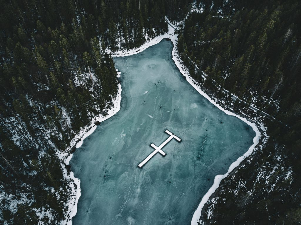 Frozen Lake Eibsee Dive platform - Lake Eibsee, hidden beauty in the German Alps